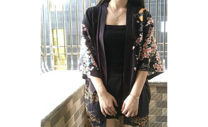 Veste Kimono Symboles du Japon Femme