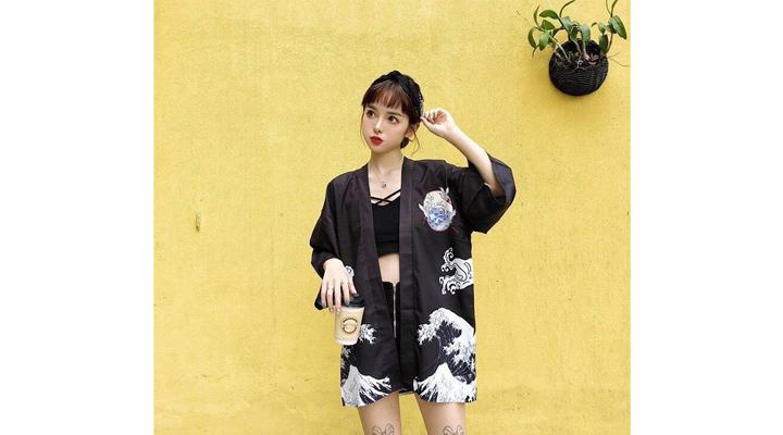 Veste Kimono Femme Imprimé Japonais
