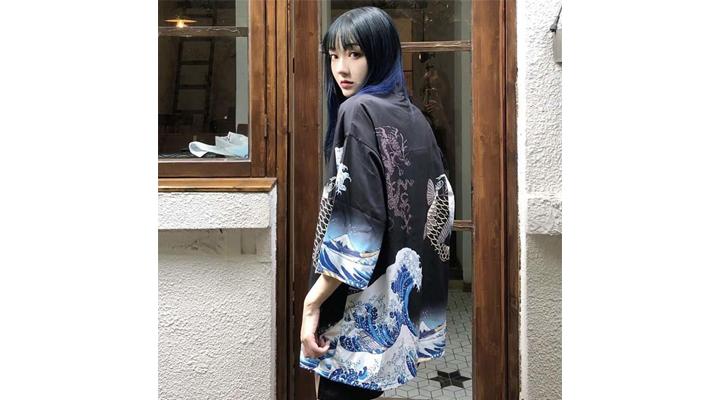 Veste Kimono Imprimé Japonais Femme