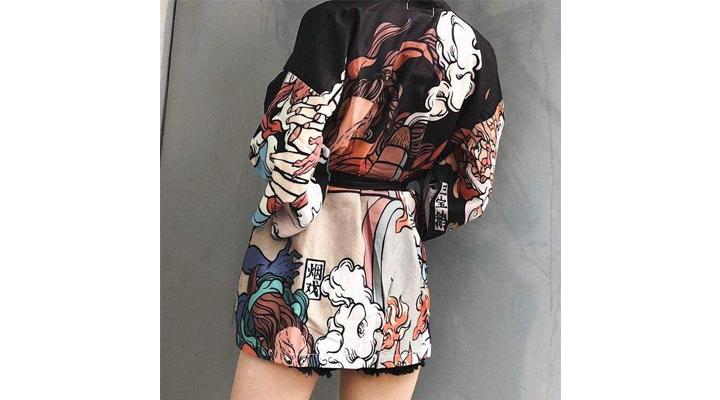 Veste Kimono Japonais Femme Noire