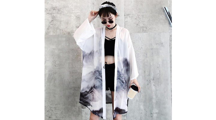 Veste Kimono Long Femme Noir et Blanc