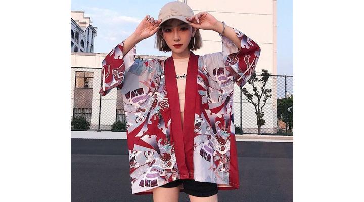 Veste Kimono Rouge Femme