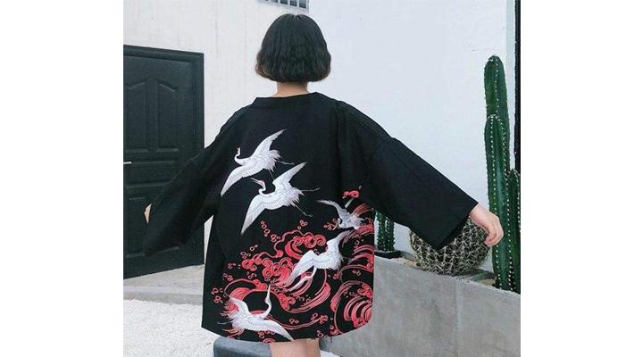 Veste Kimono Vol de Grues